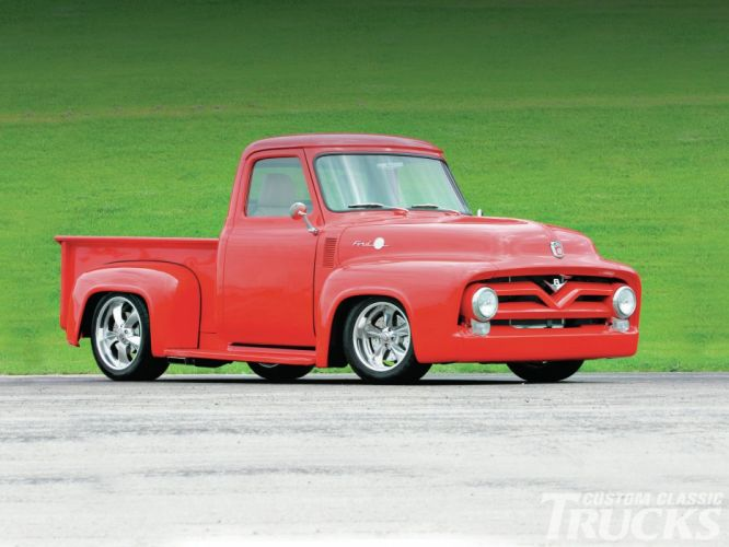 1955 Ford F-100 Pickup Hotrod Streetrod Hot Rod Street Red USA 1600x1200-05 wallpaper