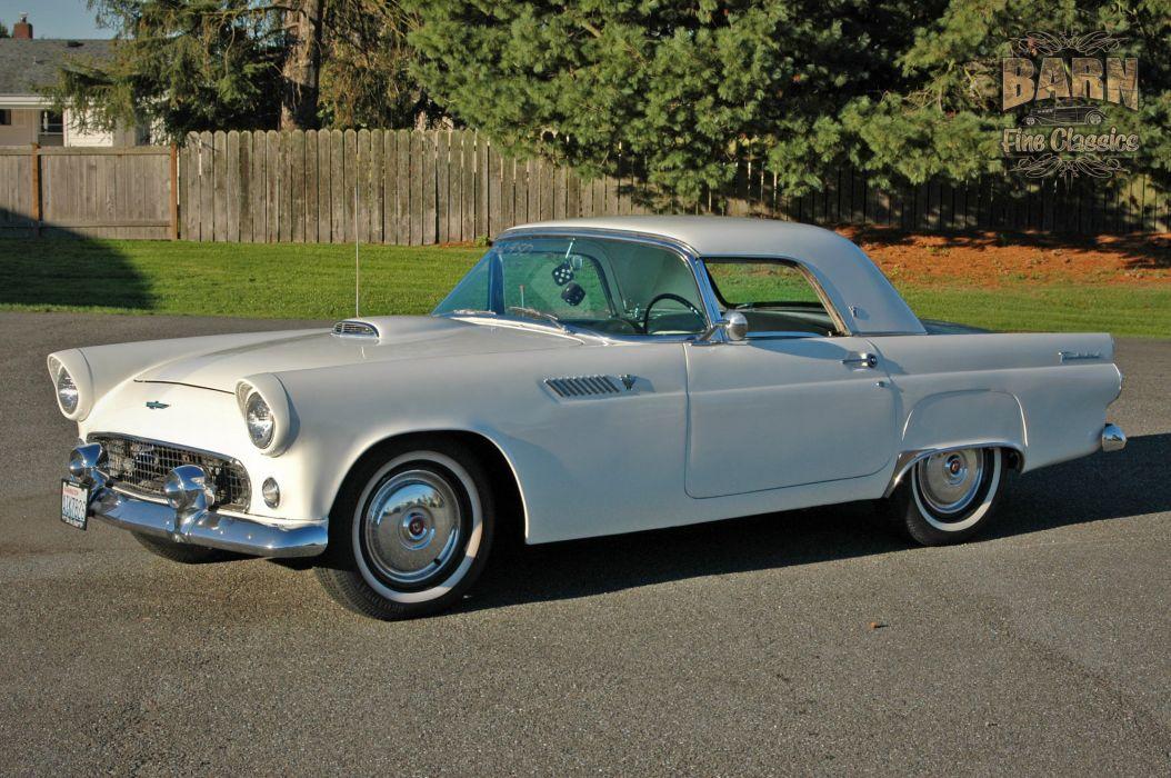 1955 Ford Thunderbird Convertible Classic Old Vintage Retro White USA-1500x1000-02 wallpaper