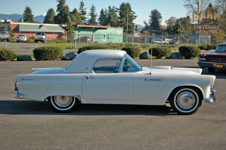 1955 Ford Thunderbird Convertible Classic Old Vintage Retro White USA-1500x1000-03 wallpaper