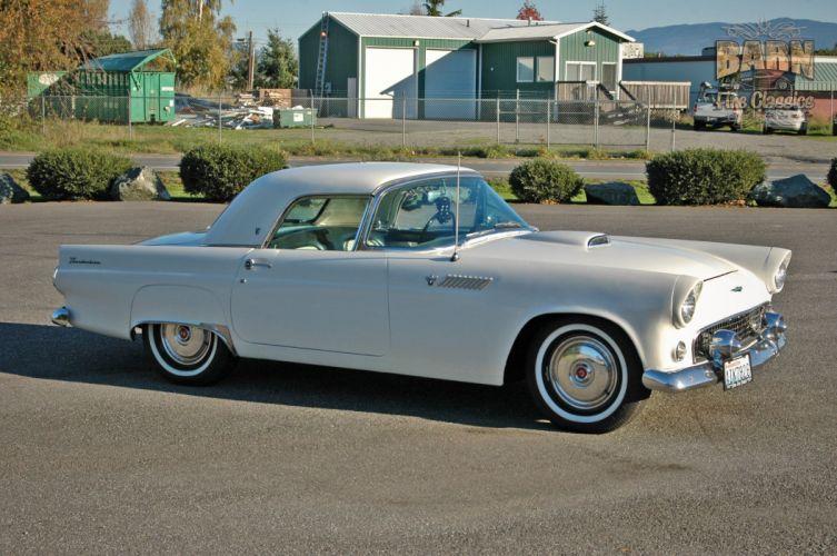 1955 Ford Thunderbird Convertible Classic Old Vintage Retro White USA-1500x1000-04 wallpaper