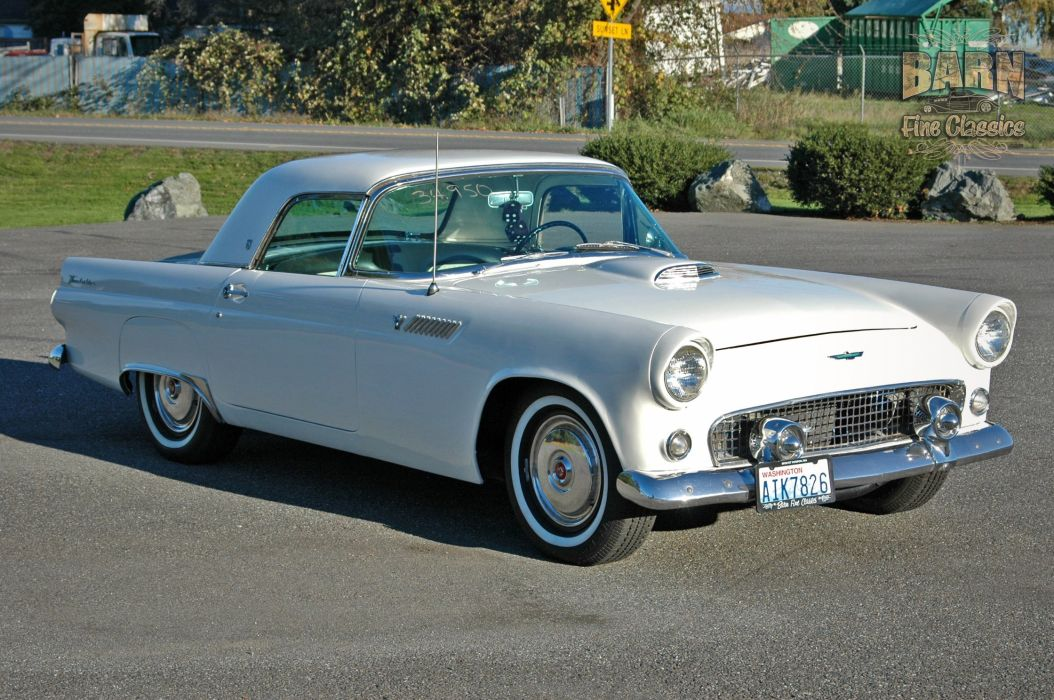 1955 Ford Thunderbird Convertible Classic Old Vintage Retro White USA-1500x1000-05 wallpaper