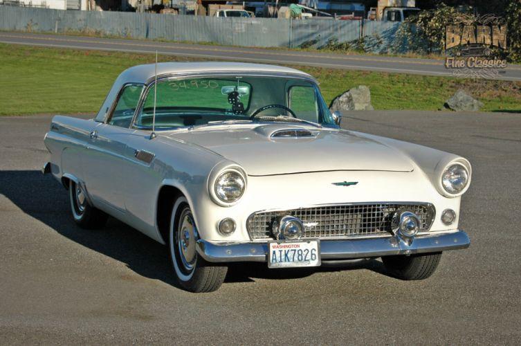 1955 Ford Thunderbird Convertible Classic Old Vintage Retro White USA-1500x1000-06 wallpaper
