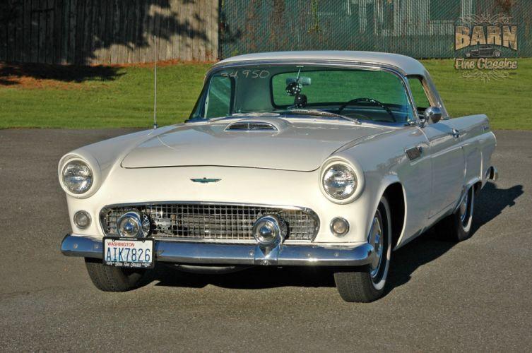 1955 Ford Thunderbird Convertible Classic Old Vintage Retro White USA-1500x1000-08 wallpaper
