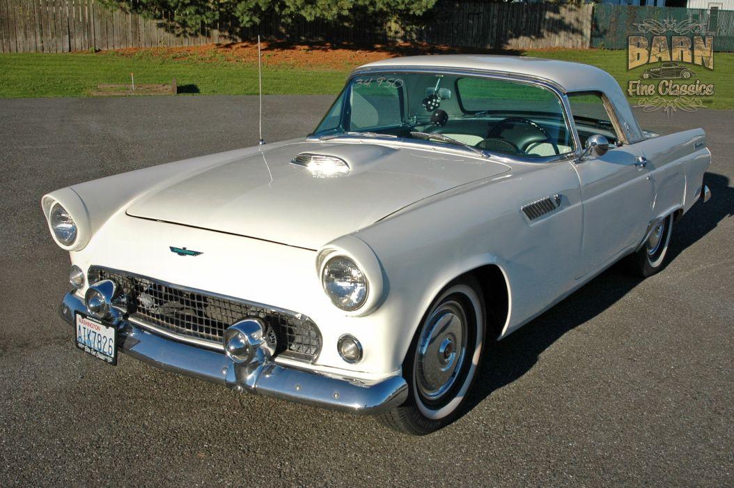 1955 Ford Thunderbird Convertible Classic Old Vintage Retro White USA-1500x1000-09 wallpaper