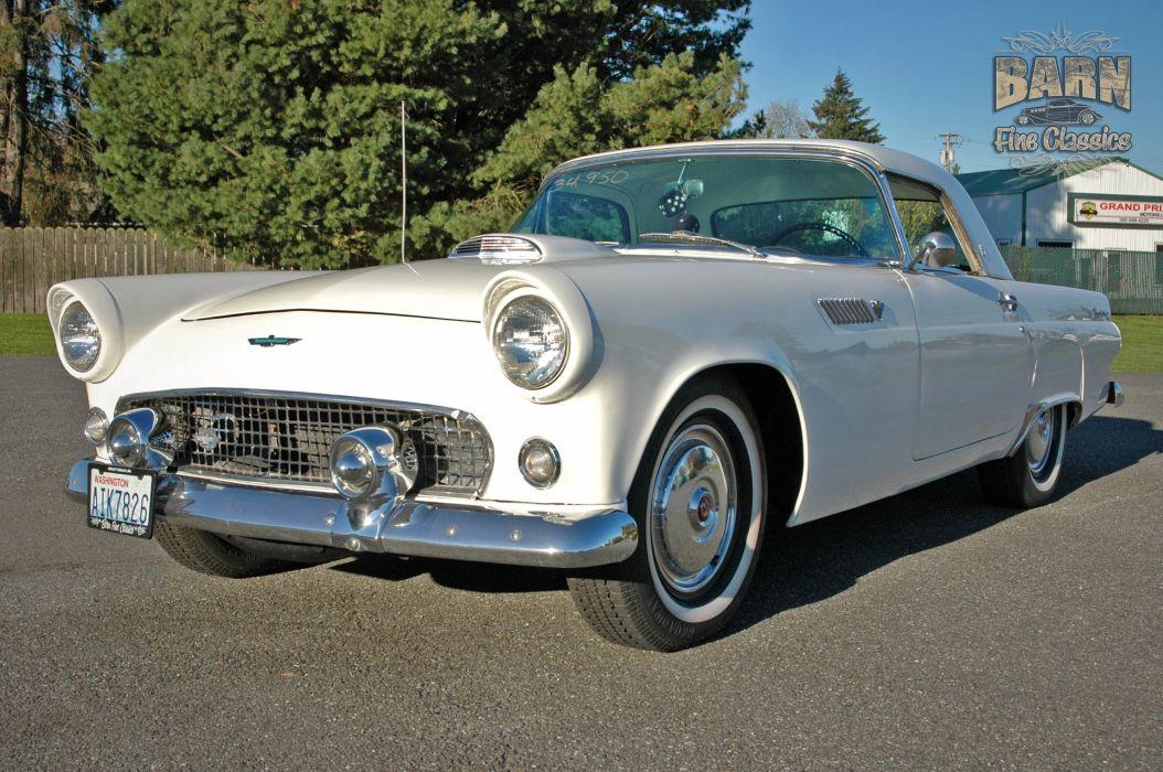 1955 Ford Thunderbird Convertible Classic Old Vintage Retro White USA-1500x1000-10 wallpaper