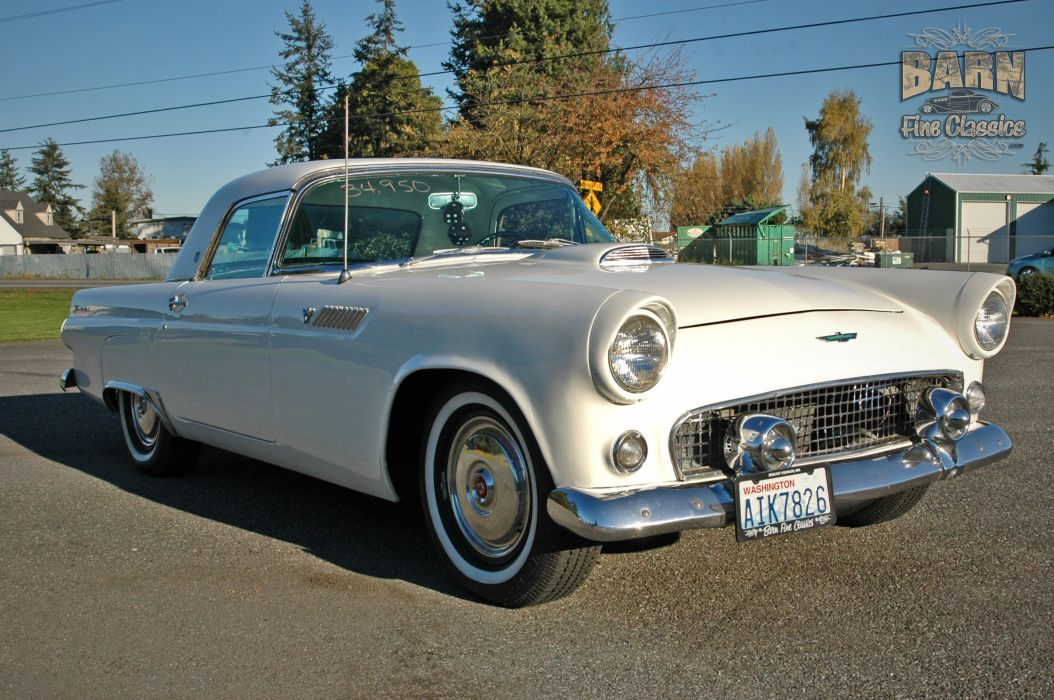 1955 Ford Thunderbird Convertible Classic Old Vintage Retro White USA-1500x1000-18 wallpaper