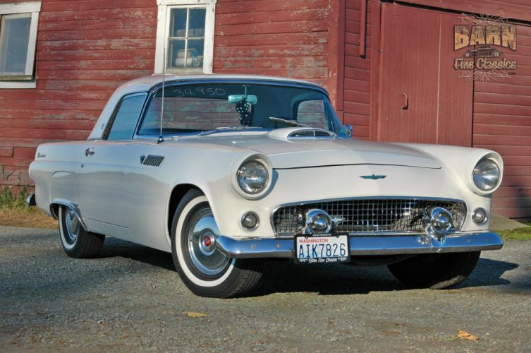 1955 Ford Thunderbird Convertible Classic Old Vintage Retro White USA-1500x1000-21 wallpaper