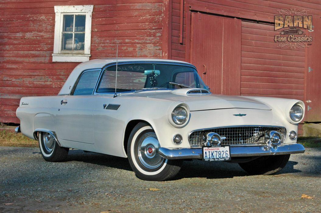 1955 Ford Thunderbird Convertible Classic Old Vintage Retro White USA-1500x1000-22 wallpaper