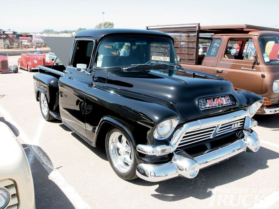 1955 GMC Pickup Hotrod Streetrod Hot Rod Street Black USA-1600x1200-01 wallpaper