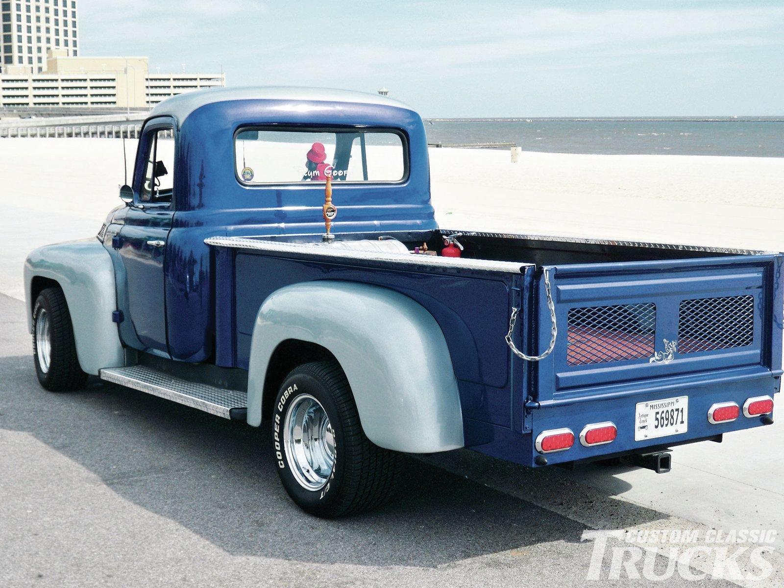 1955 International Harvester R Series Pickup Hotrod Streetrod Hot Ford F100 Street Rod Blue Usa 1600x1200 04 Wallpaper 936676 Wallpaperup