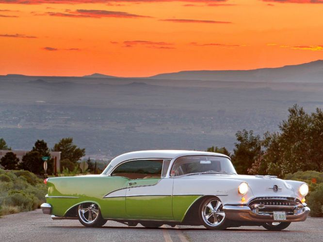 1955 Oldsmobile Holiday Two Door Hardtop Super 98 Hotrod Streetrod Hot Rod Street Rodder USA-01 wallpaper