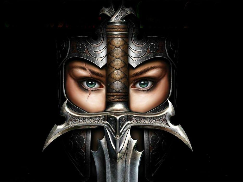 girl soldier armor person sword wallpaper