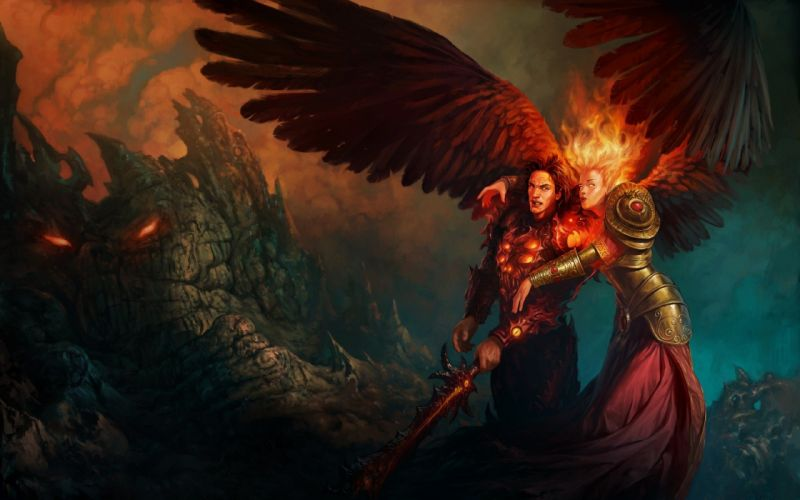 might and magic heroes girl arm fire hair wallpaper