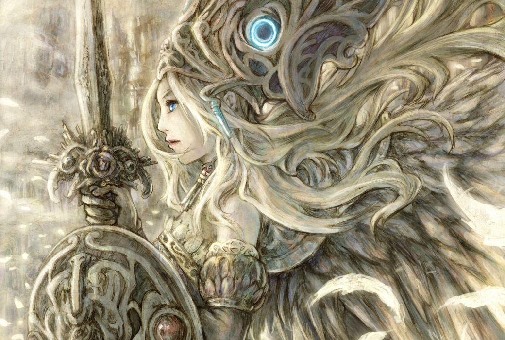valkyrie girl art sword hair wallpaper