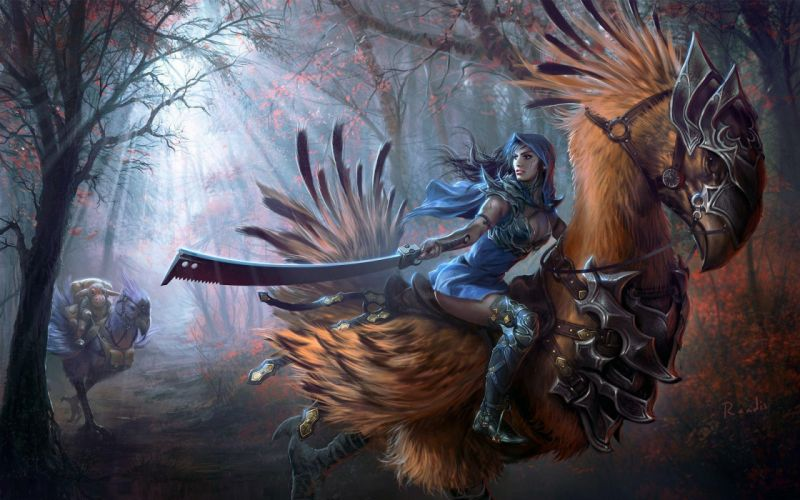 randis albion art girl sword feathers bird wallpaper