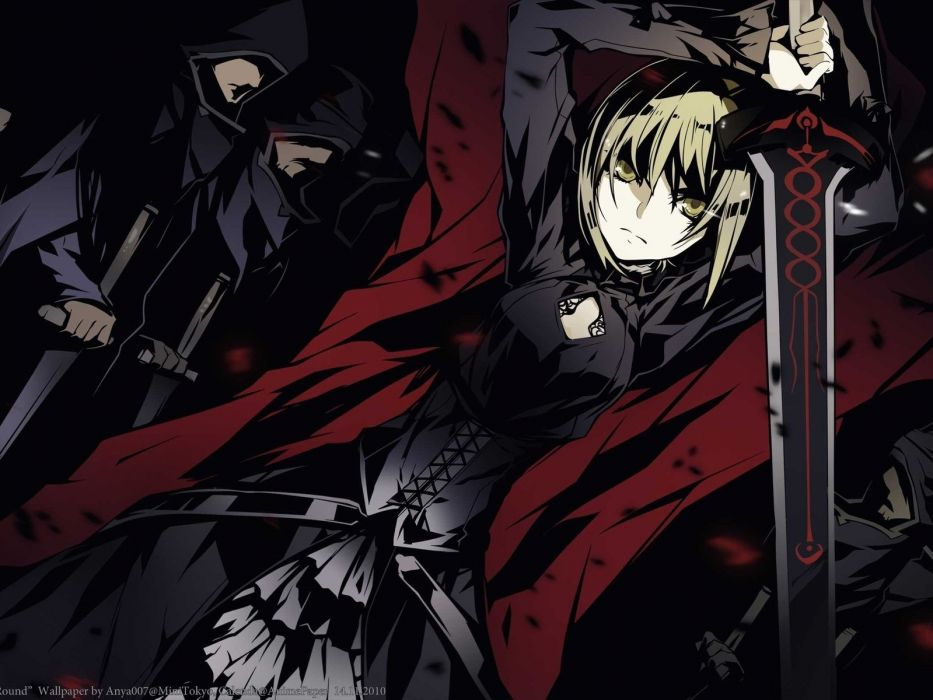fate stay night saber alter girl sword hood background wallpaper