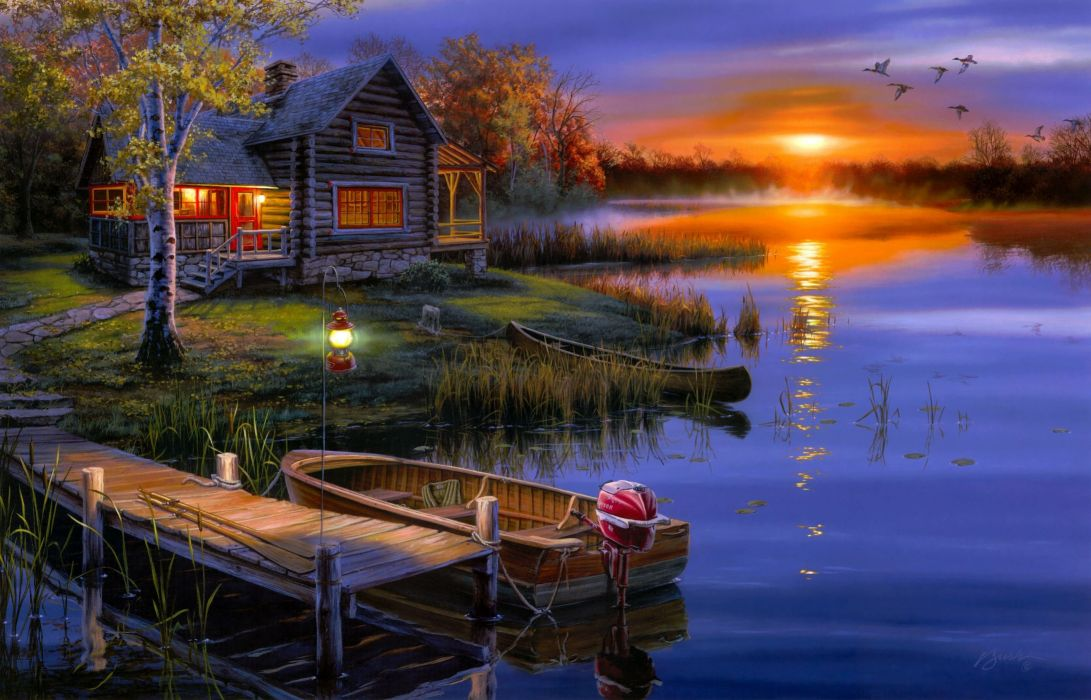 art evening decline lake boat lodge lamp light wallpaper
