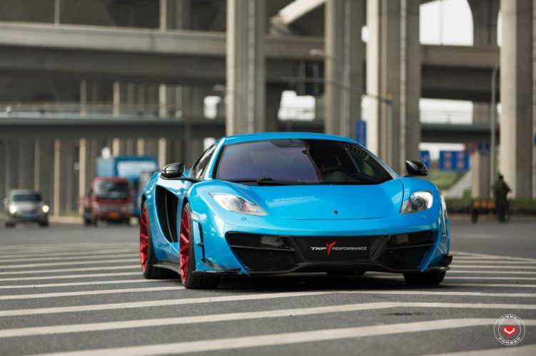 McLaren MP4 12C blue coupe cars vossen wheels wallpaper