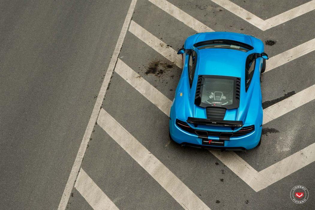 McLaren MP4 12C blue coupe cars vossen wheels wallpaper
