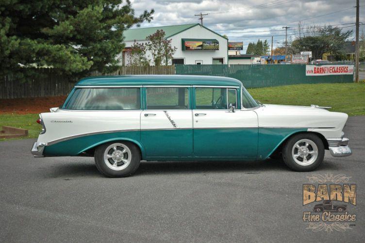 1956 Chevrolet Chevy 210 Bel Air Belair Nomad Four Door Wagon Hotrod Streetrod Hot Rod Street Rodder USA 1500x1000-04 wallpaper