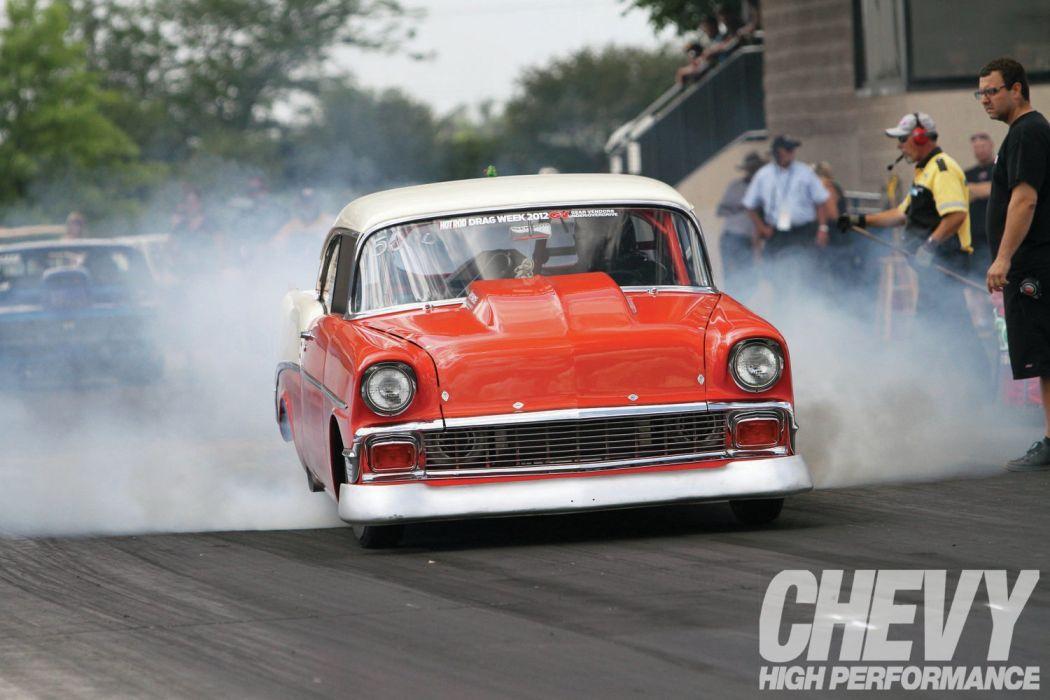 1956 Chevrolet Chevy 210 Bel Air Belair Two Door Sedan Drag Dragster Race Racing Burnout Red USA-1600x1200-02 wallpaper
