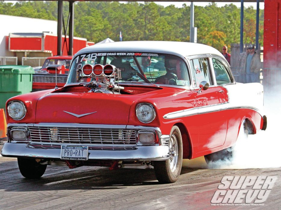 1956 Chevrolet Chevy 210 Bel Air Belair Two Door Sedan Drag Dragster Race Racing Burnout Red USA-1600x1200-01 wallpaper