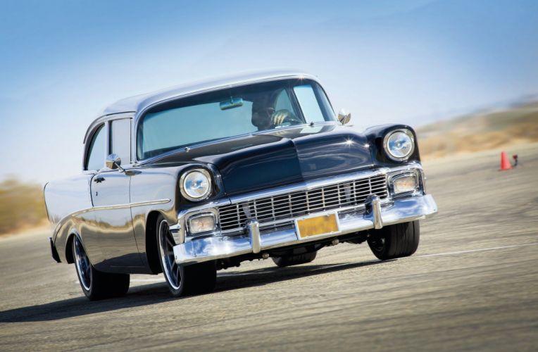 1956 Chevrolet Chevy 210 Bel Air Belair Two Door Sedan Hotrod Streetrod Hot Rod Street Rodder Black USA 2048x1340-02 wallpaper