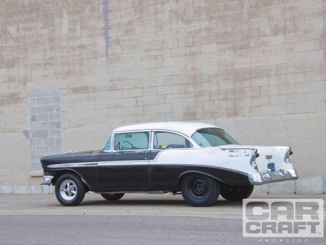 1956 Chevrolet Chevy 210 Bel Air Belair Two Door Sedan Hotrod Streetrod Street Hot Rod Drag Dragster Gasser Rodder USA 1600x1200-02 wallpaper