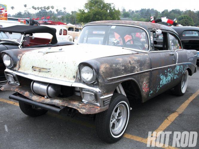 1956 Chevrolet Chevy 210 Bel Air Belair Two Door Sedan Rat Rod Drag Dragster Street Gasser USA 1600x1200-01 wallpaper