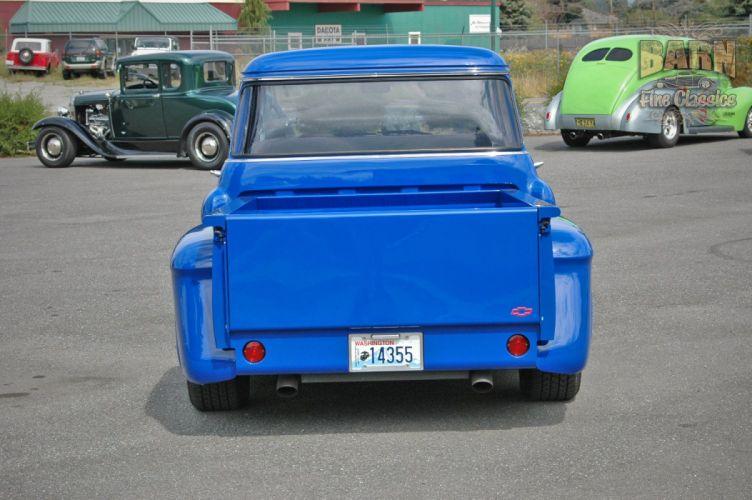 1956 Chevrolet Chevy 3100 Big Window Stepside Pickup Hotrod Hot Rod Streetrod Street Rodder Blue USA-1500x100-01 wallpaper