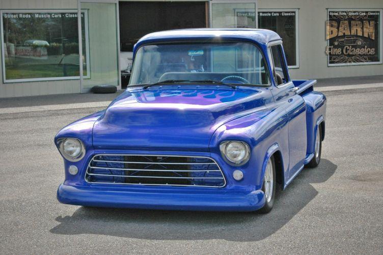 1956 Chevrolet Chevy 3100 Big Window Stepside Pickup Hotrod Hot Rod Streetrod Street Rodder Blue USA-1500x100-09 wallpaper