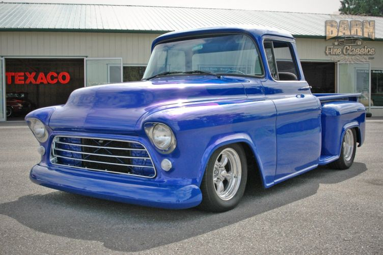 1956 Chevrolet Chevy 3100 Big Window Stepside Pickup Hotrod Hot Rod Streetrod Street Rodder Blue USA-1500x100-12 wallpaper