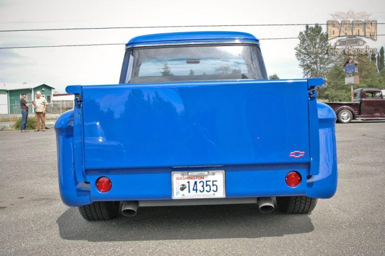 1956 Chevrolet Chevy 3100 Big Window Stepside Pickup Hotrod Hot Rod Streetrod Street Rodder Blue USA-1500x100-15 wallpaper