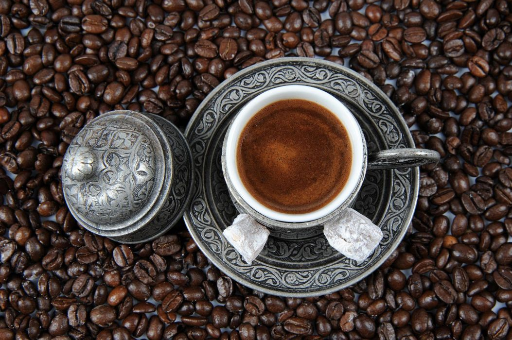 Turkish coffee drink cup coffee beans beauty wallpaper