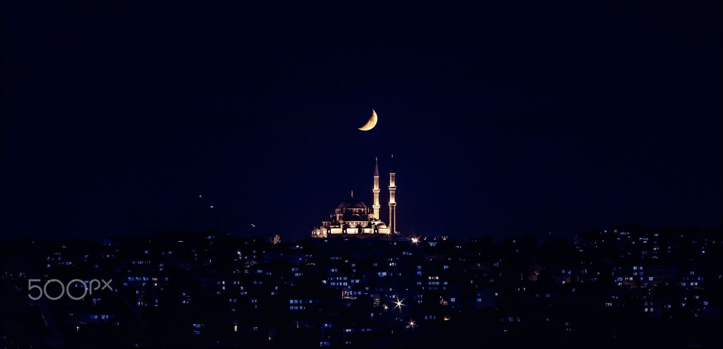 crescent moon night sky turkey istanbul landscape mosque amazing beauty city wallpaper