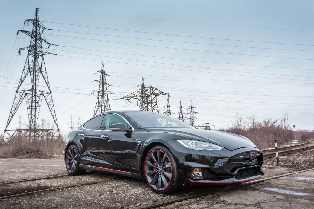 Tesla Model S modified black electric cars LARTE Design wallpaper