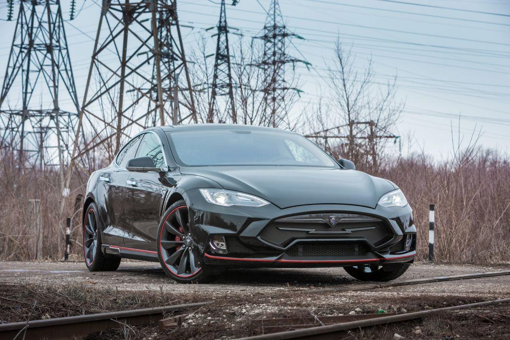 Tesla Model S modified black electric cars LARTE Design wallpaper