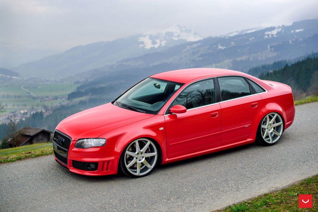Audi RS4 red Vossen wheels cars wallpaper