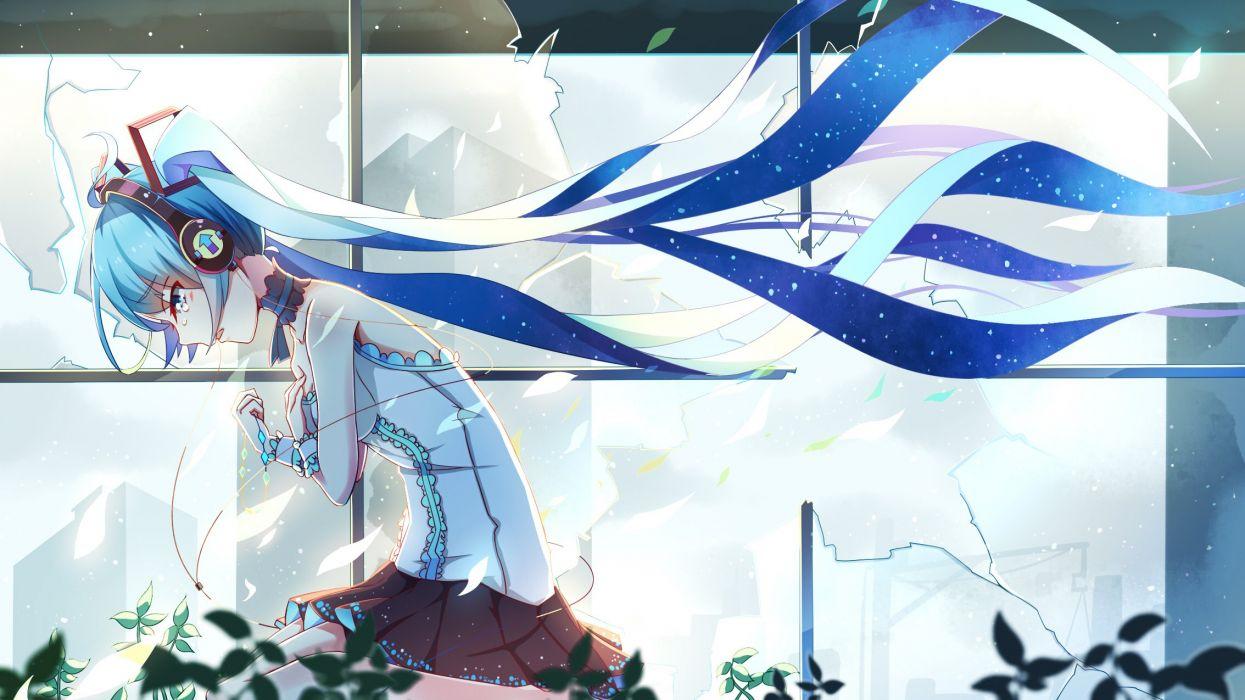 aliasing hatsune miku long hair si xia daze twintails vocaloid wallpaper