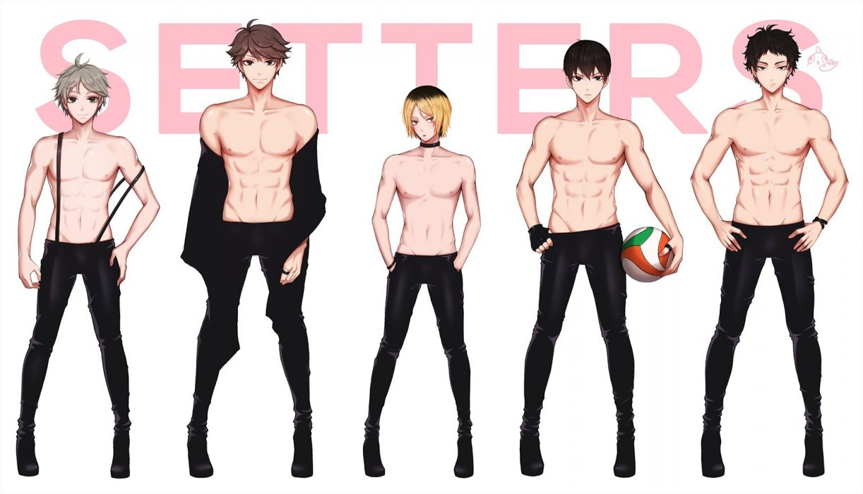 akaashi keiji all male ankkoyom group haikyuu!! kageyama tobio kozume kenma male navel oikawa tooru sport sugawara koushi topless volleyball wallpaper