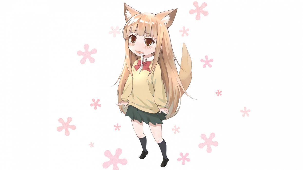 animal ears blonde hair brown eyes foxgirl kneehighs loli miyano photoshop seifuku skirt tagme (artist) tail tanaka-kun wa itsumo kedaruge white wallpaper