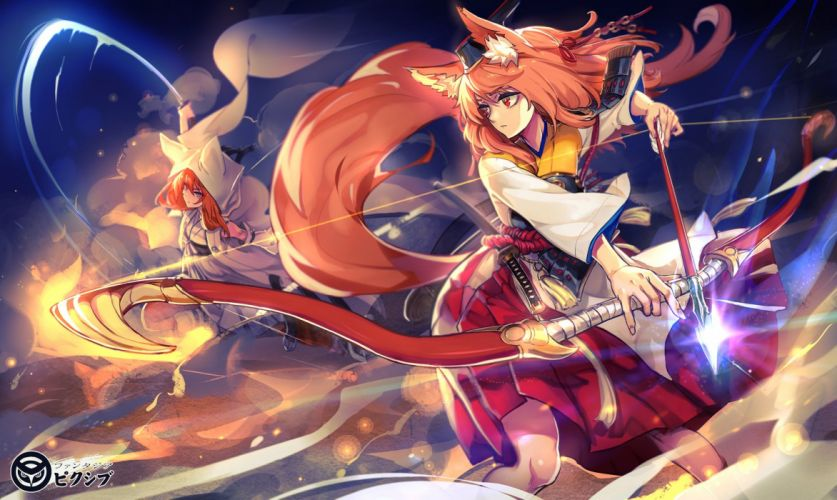 Anime Girl With Red Hair And Cat Ears And Sword