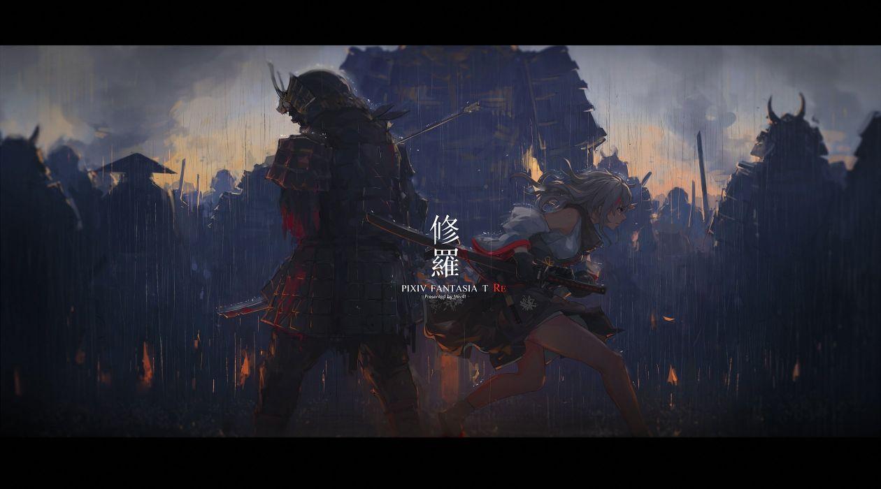 group mivit pixiv fantasia samurai wallpaper