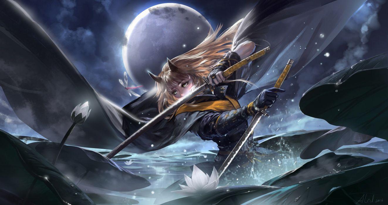 alcd animal ears armor blonde hair flowers pixiv fantasia sword water weapon wallpaper