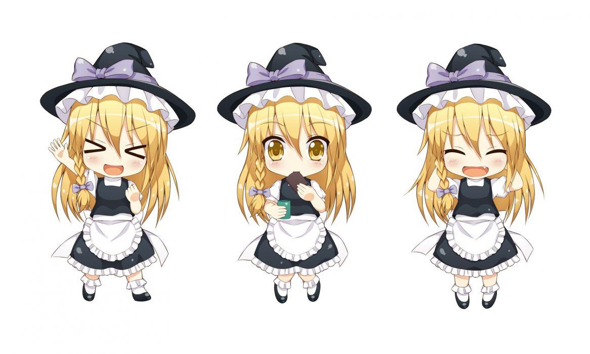 aliasing apron blonde hair blush bow braids dress drink fang food hat long hair ribbons socks tagme (artist) touhou white witch witch hat yellow eyes wallpaper