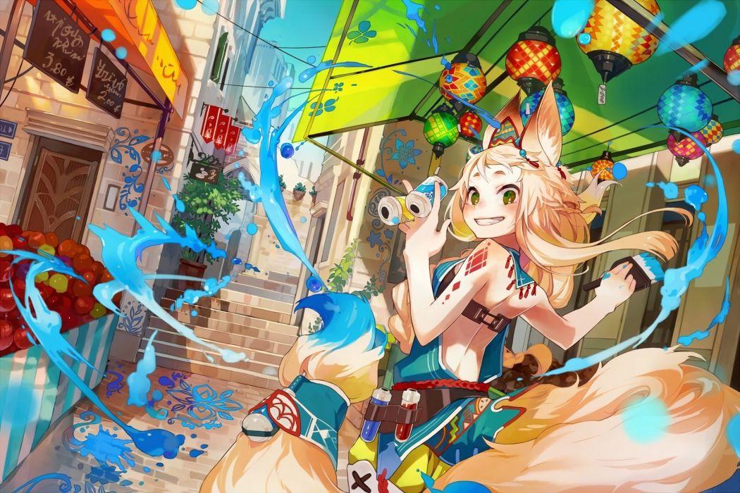 animal ears blonde hair braids city foxgirl green eyes long hair mmlu (honwa karesu) original tail waifu2x wallpaper