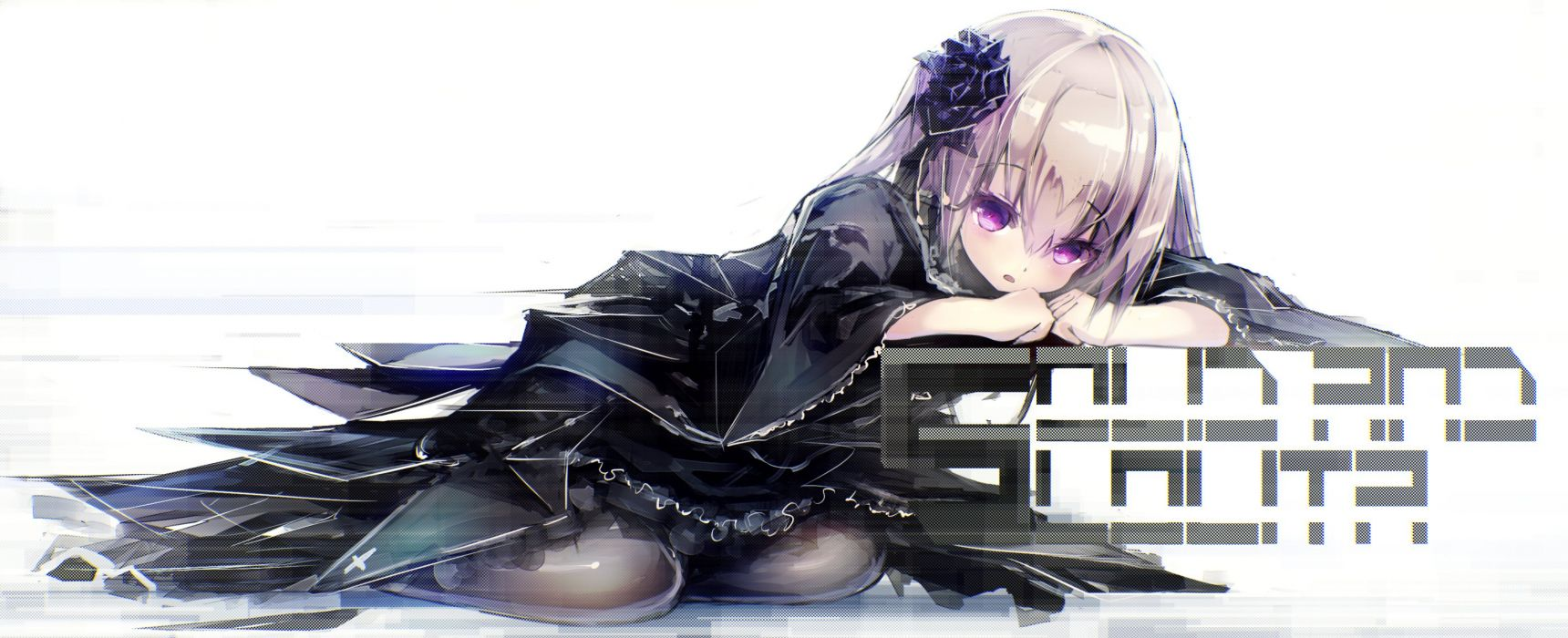 apple228 goth-loli loli lolita fashion long hair original purple eyes purple hair white wallpaper