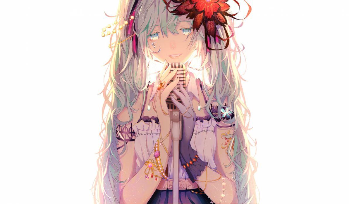 aqua eyes aqua hair flowers hatsune miku long hair microphone tagme (artist) twintails vocaloid wallpaper