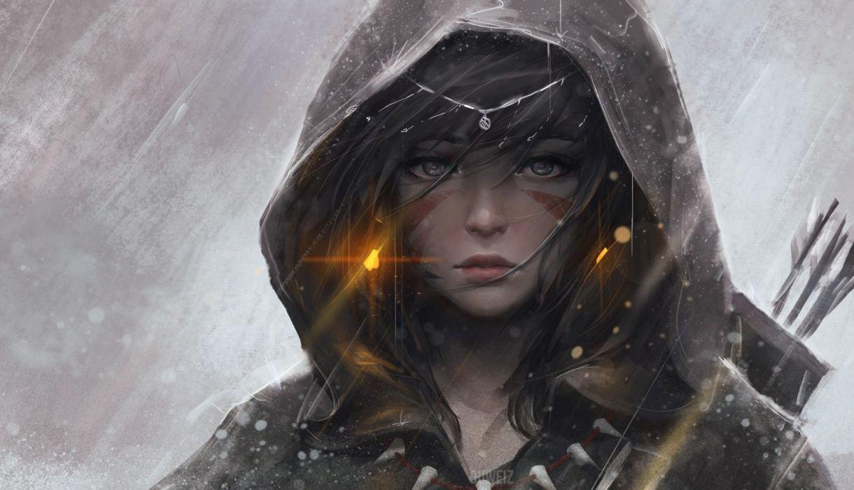 black eyes black hair bow (weapon) guweiz headdress hoodie magic necklace original realistic tattoo weapon wallpaper