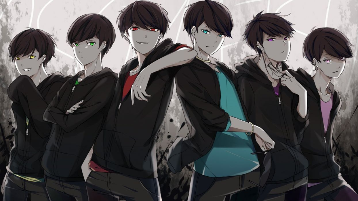 male ameriya aqua eyes black hair green eyes group hoodie male osomatsu-kun osomatsu-san pink eyes polychromatic purple eyes red eyes yellow eyes wallpaper